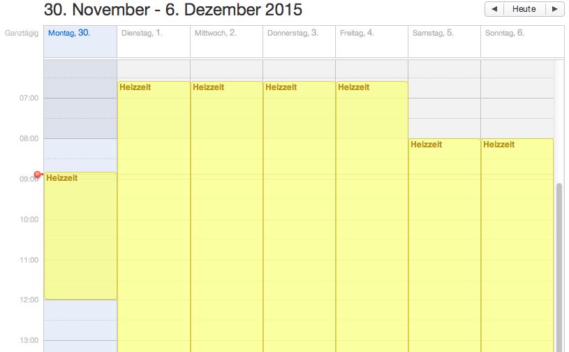 Heizzeiten-Kalender
